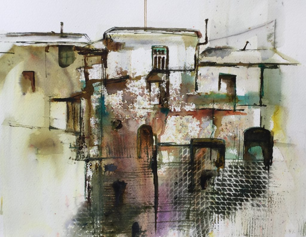 Greek Buildings (mixed media)